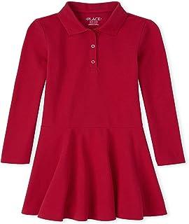 The Children's Place 女童制服长袖珠地布 Polo 连衣裙