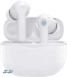 无线耳塞蓝牙 5.0 耳塞,【24 小时充电盒】完美低音 HiFi 降噪 透明通话 双麦克风触摸控制 IPX7 防水,适用于 iPhone/Android Apple AirPods 耳机