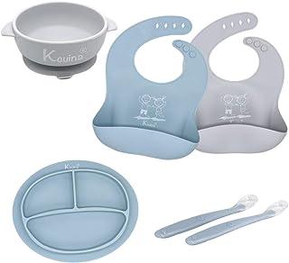 Kcuina 6 件套婴儿喂食套装 - 包括 2 个硅胶围嘴、1 个强吸分盘、1 个强吸碗和 2 个软勺套装 - 食品级硅胶(蓝冷/灰色)