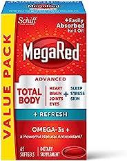 Schiff 旭福 MegaRed 软胶囊,Omega-3 Blend全身+刷新500mg(每瓶65粒),易吸收的磷虾油,可支撑您的心脏,关节,大脑和眼部
