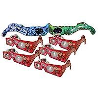 HolidayEyes(R) ELF 圣誕眼鏡 6 雙組合裝 - 5 個長耳杯和 1 個圣誕/新年煙花眼鏡 - 全部折疊,隨時可穿