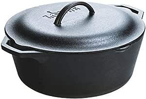 Lodge 预调味荷兰砂锅,带环形手柄和铸铁盖,黑色,4夸脱(约3.79升)
