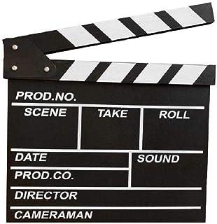 zmgmsmh 木制拍板导演电影剪切动作场景板夹板板板板岩(大号 - 黑色)