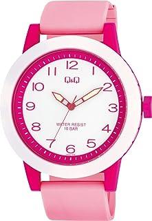 CITIZEN Q&Q 手表 指针式 大表盘防水 聚氨酯表带 VS56-008 女款 粉色 白色