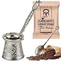 铸造和雕刻土耳其咖啡壶(2 人用3件套)带 Kurukahveci Mehmet Efendi 希腊阿拉伯咖啡壶双层钢制底座 Cezve - 炉顶(银色)