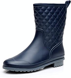 女式橡胶靴防水雨靴水中筒一脚蹬花园防滑鞋户外工作黑色蓝色美码 5-11