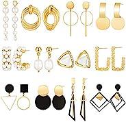12 對吊墜耳環金屬大幾何耳環人造珍珠環狀耳環波西米亞吊墜耳環情人節圣誕節,12 種風格