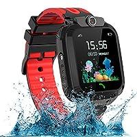 AOYMJRS 兒童智能手表,防水LBS/GPS 智能手表男孩女孩玩具手表跟蹤器觸摸屏SOS適用于Android iOS手機智能手表男孩女孩生日圣誕節理想禮物(紅色)