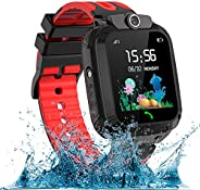 AOYMJRS 儿童智能手表,防水LBS/GPS 智能手表男孩女孩玩具手表跟踪器触摸屏SOS适用于Android iOS手机智能手表男孩女孩生日圣诞节理想礼物(红色)