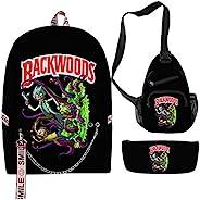 Backwoods Cookies 背包 学校 Usb 背包 轻便套装 3 件 包笔记本电脑背包 45.7 cm,吊带包,铅笔盒 Backwoods 饼干背包 4 均码