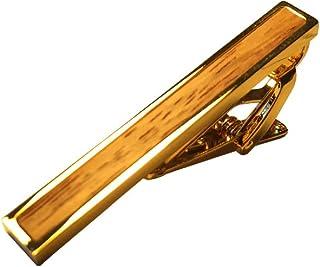 D&L 男士镀金木质镶嵌领带夹