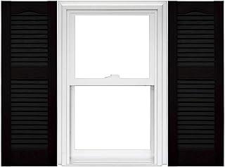 Mid America Open Louver 乙烯基百叶窗(1 对)- 14.5 x 36 002 黑色