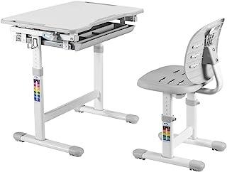 书桌和椅子套装 – 高度可调节儿童学习桌 – 舒适学生办公桌 – 适合写作家庭作业的小艺术工作台 ( 灰色 )