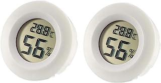 uxcell 白色圆形数字温度湿度计 室内温度计湿度计 LCD 显示摄氏度 °C 用于湿度计 2 件