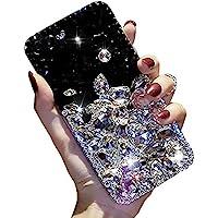 閃亮鉆石手機殼適用于三星 Galaxy Note 20 6.7 英寸(約 17.0 厘米),Aearl 3D 自制奢華閃耀水晶水鉆閃亮全透明石后蓋手機保護套 - 透明黑色