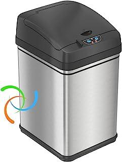 iTouchless 8 加仑(约8.9升)的宠物传感器垃圾桶,不锈钢带宠物防护,18.3升