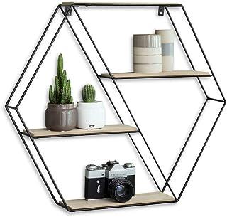 LIFA LIVING 六角形壁架由金属和木材制成,带4个地板,黑色工业调料架,4层,吊架,58 x 51 x 11厘米
