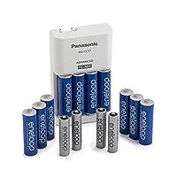 Panasonic 松下 K-KJ17MZ104A eneloop 電池套裝;含 10 節 5 號電池,4 節 7 號電池,高級電池充電器(電池顏色隨機發貨)