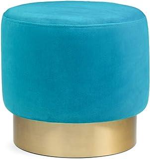 SIMPLIHOME Bardoe 小号圆形Ottoman 脚凳,地中海蓝