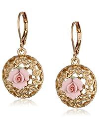 1928 珠宝瓷玫瑰系列金色粉色陶瓷耳坠