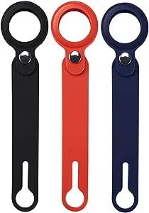带长肩带的硅胶保护套,适用于 Apple AirTags 追踪器/查找器物品/定位器,硅胶支架和防刮保护盖,带搭扣,方便携带(3 件装)(颜色:红色,深蓝色,黑色)