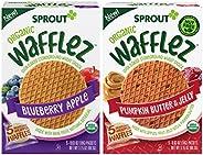 Sprout *华夫饼,混合包装,蓝莓苹果和南瓜黄油和果冻,5盒幼儿零食(4包,每包2袋)