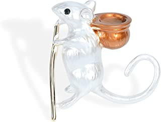 YYBONNIE 复古 18K 黄金老鼠鼠老鼠胸针可爱卡通动物翻领别针 高度精细的金属胸针吊坠