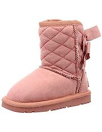 [东方传奇] 儿童 羊皮 靴子 女孩 丝带 防寒 雪 女孩 温暖