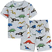 小男孩恐龙 T 恤和短裤套装夏季服装短袖棉 T 恤上衣