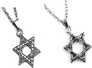 男士六星项链,27.6 英寸不锈钢星星吊坠项链,复古宗教项链,护身符项链,男士男孩珠宝礼物。 (颜色 -- aa)