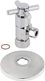 金士顿 Brass CD53301DXK 1.59cm x 0.95cm O.D 防尺寸豪华四分之一转动陶瓷 Hardisc 带法兰角挡板,抛光镀铬