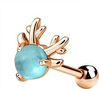 OUFER 软骨耳环 鹿头 316L *钢耳钉 螺旋耳环 身体耳洞饰品