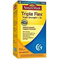 Nature Made TripleFlex 维生素D 三倍强度胶囊,120粒,有益于关节(包装可能会有所不同)