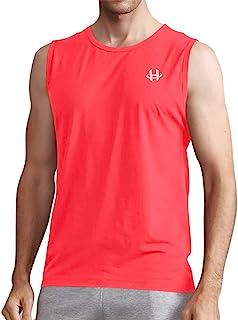 H Hellisal 无袖 T 恤 男式 速干 肌肉 T 恤 健身 运动 跑步 背心, 荧光橙, Small