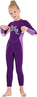 DIVE & SAIL 儿童潜水服,保暖全潜水服 2.5mm 氯丁橡胶连体式长袖潜水服,适合女孩、男孩和幼儿