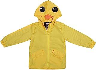 ROSEBEAR 幼儿男孩女孩鸭子雨衣,可爱防水卡通连帽衫拉链外套