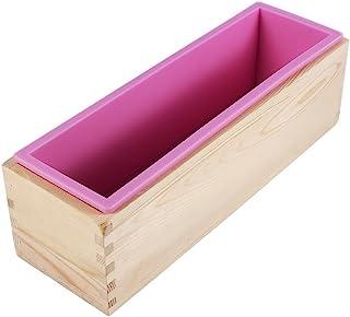 矩形 DIY 硅胶肥皂模具,带木盒 DIY 制作工具烘焙蛋糕面包吐司模具
