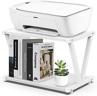 VEDECASA 复古桌面打印机支架 2 双层木打印机架现代白色木质存储书架收纳盒适用于家庭办公室时尚坚固的 V 形(白色)