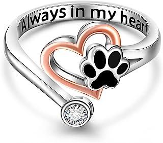 可爱猫狗爪印戒指 黑色爪子可调节 Always In My Heart 戒指女士纯银小狗首饰 儿童可调节尺寸 5-9