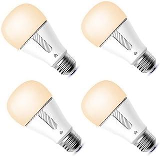 Kasa 智能灯泡,LED 智能 Wi-Fi 灯泡适用于 Alexa 和 Google Home,A19 可调光,2.4GHz,无需集线器,800流明软白色(2700K),4 件装 (KP110P4)