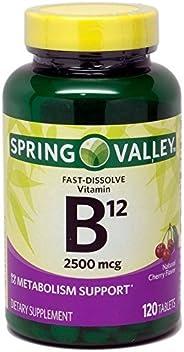 Spring Valley 仅含 1 件装春谷快速溶解维生素 B12 2500 Mcg,代谢支撑,120 片樱桃味