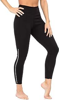 DoLoveY 女式氯丁橡胶桑拿运动裤带口袋高腰修身七分裤锻炼大腿*打底裤