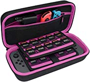 TAKECASE 任天堂开关便携包 - 保护性硬质手机壳 - 包括配件袋,适合额外欢乐游戏、19 张游戏卡、适配器/充电器和电缆粉色/黑色