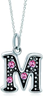 SexyMandala 大写字母 A-Z 字母挂坠水晶珠项链礼物格栅