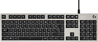 Logitech 罗技 G413 机械游戏键盘,Taktile Romer-G Switches,拉丝铝制外壳,可编程F按键,USB环,法式 AZERTY 布局 - 银色/黑色