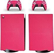 Adventure Games - 碳纤维,粉色 - 乙烯基控制台皮肤贴花贴纸 + 2 个控制器皮肤套装 - 兼容 PlayStation 5 数字版
