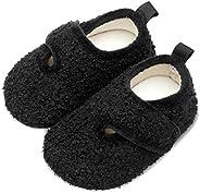 Scurtain 儿童幼儿拖鞋女婴拖鞋袜子人造羊毛拖鞋适合男孩女孩婴儿防滑橡胶鞋底 2027 黑色小童 12.5-13