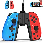 KINVOCA C25 Joy Pad 控制器适用于 Nintendo Switch 的替换件 适用于Joycon有线 / 无线开关控制器 可编程宏 涡轮增压器 运动控制 双马达 红色和蓝色带充电手柄