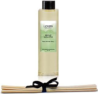 LOVSPA Revive 桉树芦苇扩散器油补充装带替换芦苇   桉树精油、鼠尾草、竹子、柑橘和薄荷。   4 盎司(约 113.4 克)   美国制造