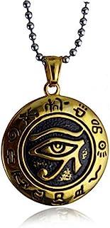 Eye of Horus Ra 项链吊坠男士女士不锈钢古埃及保护标志链酷自行车手全眼普罗维登斯精致时尚珠宝*好的朋友生日礼物